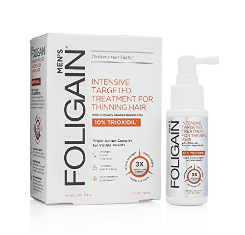 Foligain Triple action complete formula for thinning hair for men with 10% trioxidil 2 fluid ounce, 2 Fl Oz
