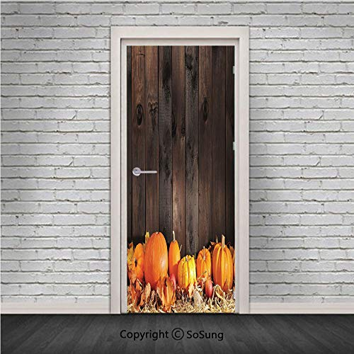 (Harvest Door Wall Mural Wallpaper Stickers,Thanksgiving Themed Pumpkins Many Shapes and Sizes in Hay Wooden Board Background Decorative,Vinyl Removable 3D Decals 30.4x78.7/2 Pieces Set,for Home)