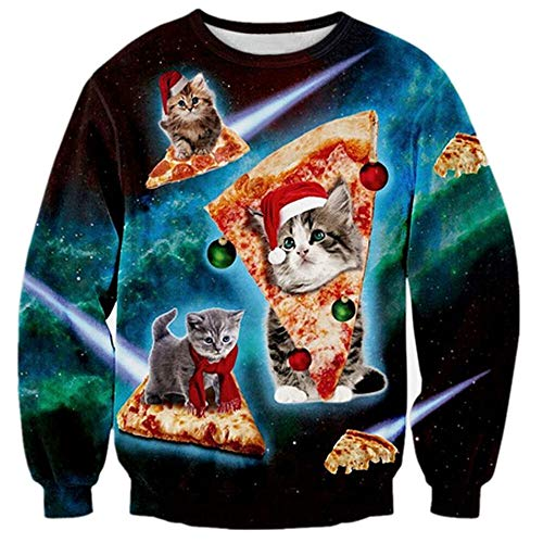 Grumpy Cat Sweater (TUONROAD Couples Ugly Christmas Sweaters Frisky Grumpy Pizza Hat Scarf Pussycat Red Gree Ball Decorations Adults Men Women Matching Novelty Sweatshirt Xmas Long Sleeve Crew Neck Pullover)