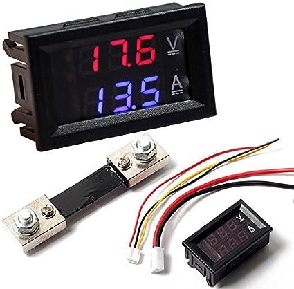Digital Red Blue Led Volt Amp Panel Meter Ammeter Current Shunt 100 A 100 V 0 5 Auto