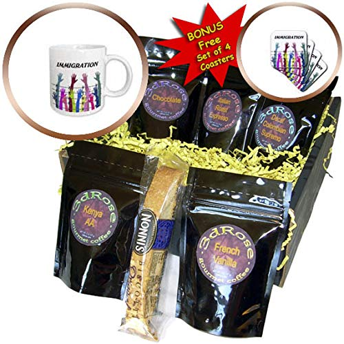 - 3dRose lens Art by Florene - Politics - Image of Many Hands Of Colors Barbed Wire Word Immigration - Coffee Gift Basket (cgb_316009_1)