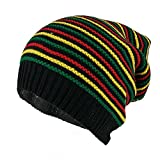 Armycrew Rasta Jamaican Crochet Colorful Stripes Baggie Slouch Acrylic Beanie Hat - Black
