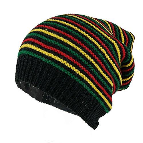 Hats Rasta Jamaican - Armycrew Rasta Jamaican Crochet Colorful Stripes Baggie Slouch Acrylic Beanie Hat - Black