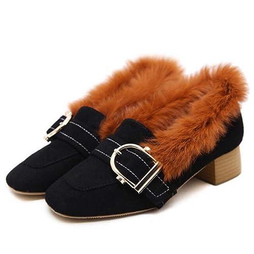 Las Mujeres de Terciopelo de tacón Alto clásico Bombas de Invierno Elegante Hebilla cinturón de Piel de Conejo Mocasines Zapatos: Amazon.es: Zapatos y ...