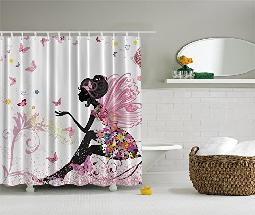 Ambesonne Pink Butterfly Map Shower Curtain