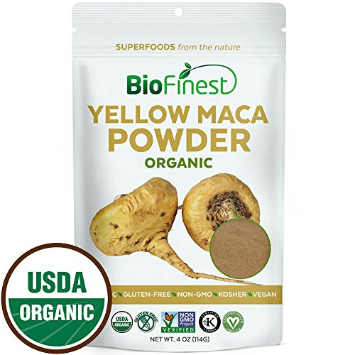 Biofinest Yellow Maca Root Powder - 100% Pure Freeze-Dried Antioxidant Superfood - USDA Organic Vegan Raw Non-GMO - Boost Vitality & Endurance - For Smoothie Beverage Blend (4 oz Resealable Bag)
