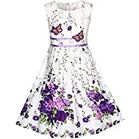 Sunny Fashion Girls Dress Rose Flower Double Bow Tie Party Sundress