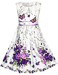 Girls Dress Rose Flower Double Bow Tie Party Sundress