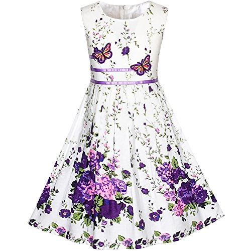 KP13 Girls Dress Purple Flower Party Size