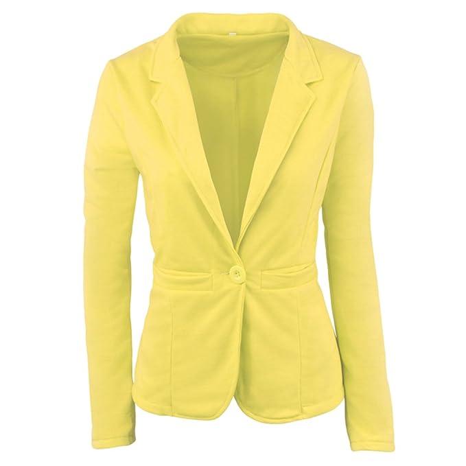 ZKOO Mujer De Un Solo Pecho Blázer Abrigo Americana Blazer Traje Slim Fit Elegante Oficina Negocios