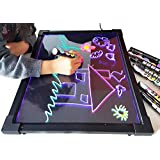 Sensory Acrylic LED Message Writing Board Illuminated Light Dry Erase Board Kids Drawing Painting Board Doodle Graphics Tablets Educational Toys-Boys Girls Birthday Gift