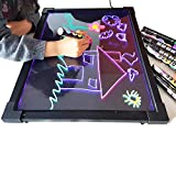 Sensory Acrylic LED Message Writing Board Illuminated Light Dry Erase Board Kids Drawing Painting Board Doodle Graphics Tablets Educational Toys with 8 Chalk Marker & Remote Control -Boys Girls Birthd