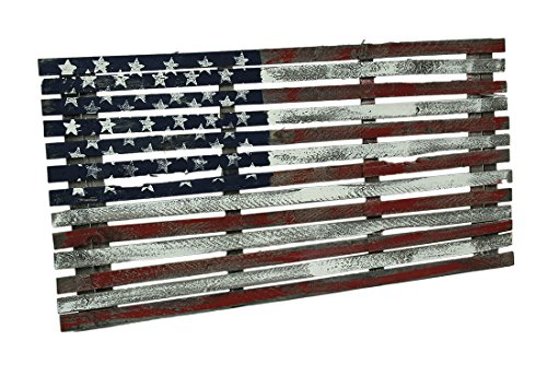(Zeckos Wood Wall Sculptures Old Glory Rustic Distressed Painted Reclaimed Wood American Flag 48 X 24 X 0.68 Inches Multicolored)