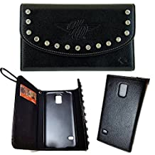 Harley Davidson Licensed Horizontal Wallet and Credit Card Leather Case with Harley Logo and Fixed Clip on the Back. Fits Samsung Galaxy S5.