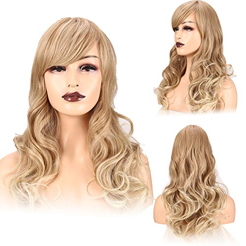 Wigs for Women Medium Length Side Oblique bangs Wigs Part Fluffy Wavy Hair 20 inches This wig uses the popular color gold to beige That Look Real Heat Resistant Blonde Daily Use