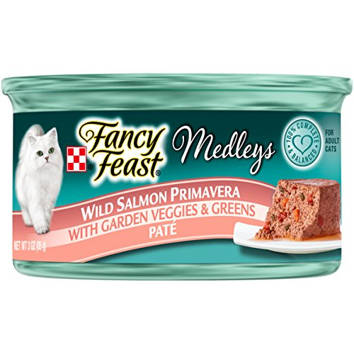 Purina Fancy Feast Medleys Pate Collection Gourmet Wet Cat Food - (24) 3 oz. Cans - Wild Salmon Primavera with Garden Veggies & Greens