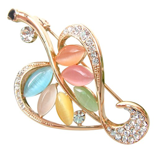 - Navachi 18k Gold Plated Colorful Created-Opal Crystal Leaves Az7049b Brooch pins