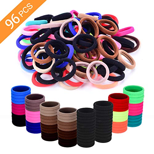Seamless Cotton Hair Ties for Women and Girls, Elastic Hair Bands for Adult, No Crease Damage Ponytail Holders, With 15 Colors No Hurt Hair Thick Hair Bands 96pcs In 8mm Thickness