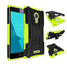 Qiaogle Phone Case - Shock Proof TPU + PC Hybrid Armor Stents Case Cover for Alcatel One Touch Flash 2 (5.0 inch) - HH15 / Black & Green