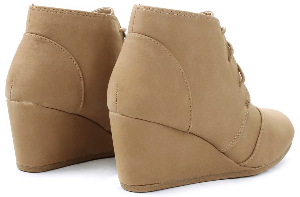 JJF Shoes Aloe Tan Lace-up Faux Nubuck High Top Wedge Ankle Sneaker Bootie-8.5 by JJF Shoes (Image #5)