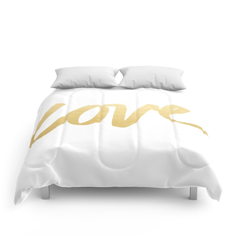 Society6 Love Gold White Type Comforters King: 104'' x 88''