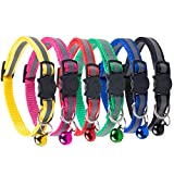 KZHAREEN Reflective Nylon Breakaway Cat Collars Bell Adjustable Small Pet Dog Puppies(6pcs set)