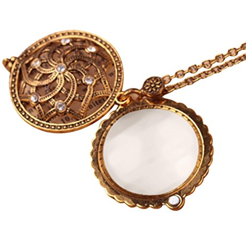 Litetao Pendant Necklace, Magnify Glass Reeding Decorative Necklace (F)