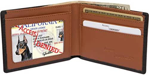 Access Denied Mens RFID Leather Wallet Slim Bifold