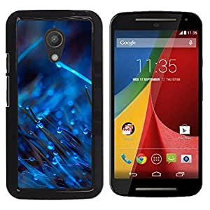 Motorola Moto G2 II / Moto G (2nd gen) / Moto G (2014) , Radio-Star - Cáscara Funda Case Caso De Plástico (Blue Drops On Grass)
