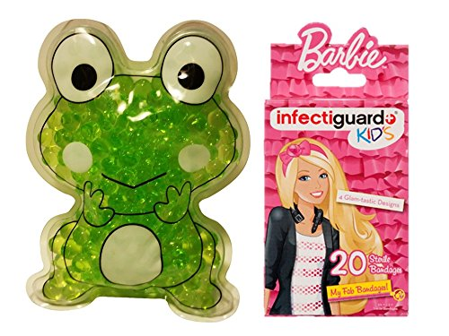 Compressed Frog (Best Pain Relieve, Fever Reducer & Bruise Aide Cold Ice Pack & Hot Compress for Children Animal Shape Gel Beads and 20 count Licensed Barbie Bandage (Frog with)