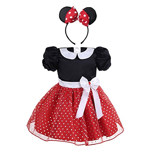 Halloween Costume Polka Dot Dress (YiZYiF Baby Girl's Short Sleeve Polka Dot Dress with Headband Outfit Set Red 18-24)