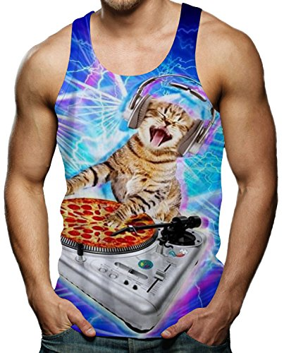 fce7447ff3774f Gay Pride Tees Gym Sleeveless Shirt Pizza Cat Music Tank Top For Men XXL