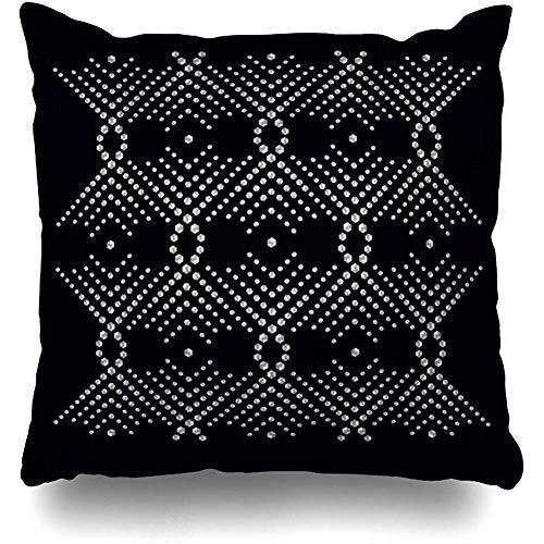 - Throw Pillow Cover Square Case 18x18 Inch Beadwork Silver Bead Rhinestone Applique Abstract Shine Brilliant Brooch Contemporary Crystal Cushion Home Decor Pillowcase