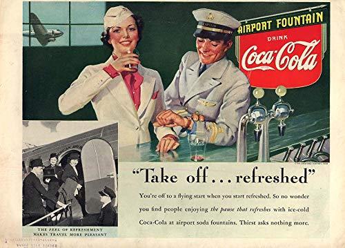 Take off - refreshed Coca-Cola ad 1938 stewardess & pilot soda fountain L