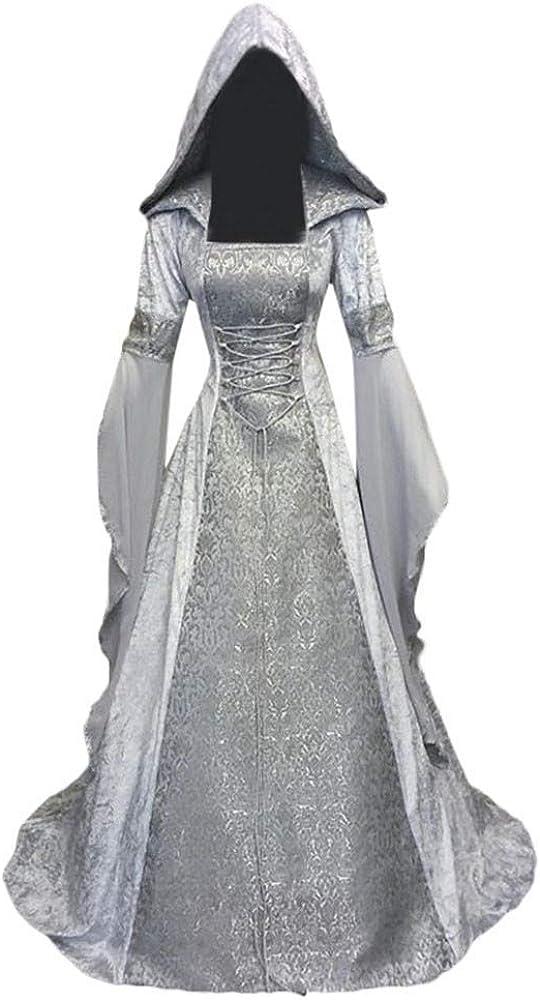 Dwevkeful Vestidos con Capucha de Estilo Medieval para Mujer ...