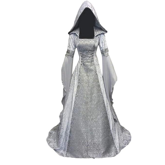 Dwevkeful Vestidos con Capucha de Estilo Medieval para Mujer Renacentista Traje De Princesa De Traje Medieval Vestido Largo De Estilo Victoriano ...