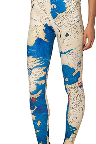 (Sister Amy Women's High Waist World Map Printted Ankle Elastic Tights Legging)