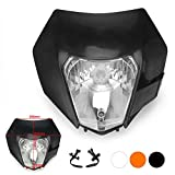 JFG RACING Black Universal Headlight Head Lamp Light Fairing Street Fighter Mask Day Running Light For ATV Scooters Dirt Pit Bike Enduro