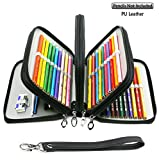 YOUSHARES 72 Slots Pencil Case - PU Leather Handy Multi-layer Large Zipper Pen Bag with Handle Strap for Colored/Watercolor Pencil (Black)