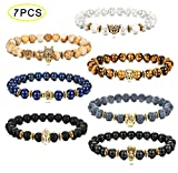 Thunaraz 7PCS Tiger/Lion/Dragon/Panther/Fox/Skull/Solider Charm Lava Onyx Bracelet Men Women 8MM (C: Multiple Stone)