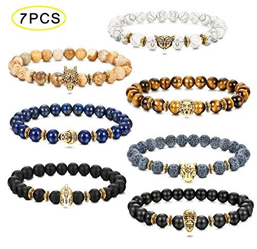 Thunaraz 7PCS Tiger/Lion/Dragon/Panther/Fox/Skull/Solider Charm Lava Onyx Bracelet Men Women 8MM (C: Multiple Stone)