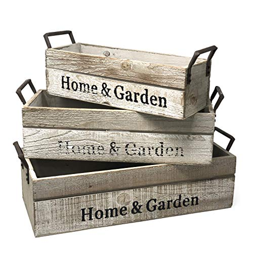 Set Box Planter - Allgala 3-PC Set Wooden Boxes Planter Trough for Flower pots - Indoor Outdoor Decoration - Storage Display Boxes