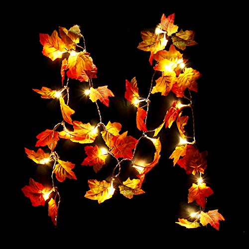 CPPSLEE LED Maple Garland Fall Garland for Autumn