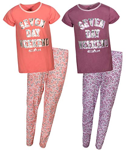 (dELiAs 2-Pack Girls Pajama Sleepwear Sets (2 Full Sets), Seven Day Weekend, Size 14-16')