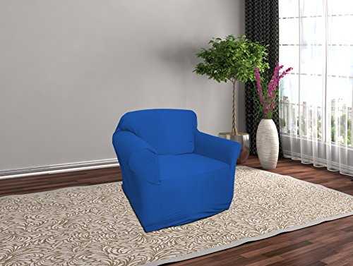 Linen Store Stretch Jersey Slipcover, Soft Form Fitting, Solid Color (Chair, Cobalt Blue) (Slipcovers Jersey Soft)