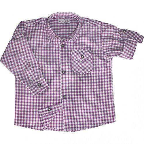 Kinder Trachtenhemd für Trachtenlederhosen Oktoberfest Trachtenmode lila/karo, Größe:164/170