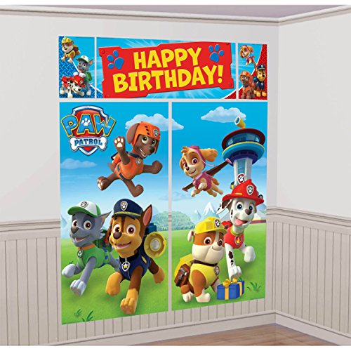 American Greetings Nickelodeon, Paw Patrol Scene Setter Wall Decorations, 5-Count -