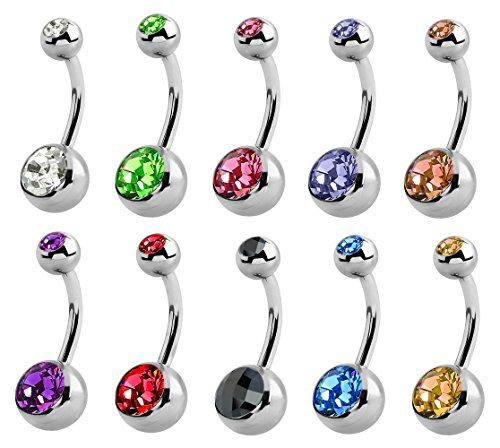 - trending jewels Double Jeweled Belly Button Ring - You get 10 Colors - Surgical Steel bar Size 14mm