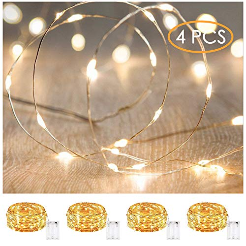 XINKAITE Led String Lights Waterproof - 9.8ft /30 LEDs Fairy String Lights Battery Operated for Indoor Outdoor String Lights Wedding, Home, Garden, Party, Christmas Decoration, 4pcs(Warm White )