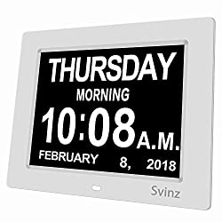 SVINZ 8 Digital Calendar Alarm Day Clock with 3 Alarm Options, Extra Large Non-Abbreviated Day & Month SDC008 - 2 Color Display Settings